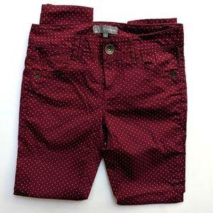 Wit & Wisdom Burgundy Pindot Skinny Pants Jeggings